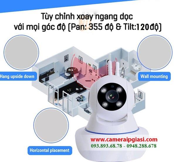 + Camera Yoosee 360 độsẽ cho bạn các góc nhìn rộng nhất, quan sát rõ ràng từng ngóc ngách với độ ngang 355 độ và dọc 120 độ.
