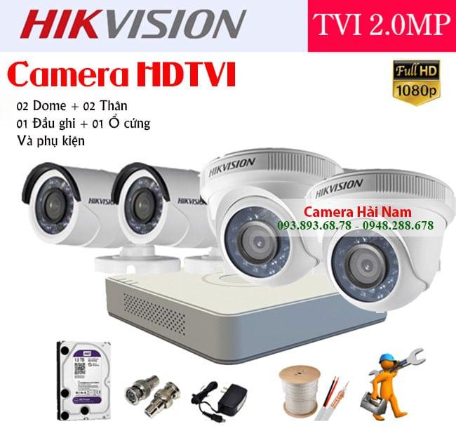 Bộ 4 mắt camera Hikvision 2M Full HD 1080P