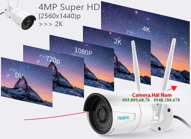 Camera ngoài trời Reolink siêu nét RLC-410W 4MP 2560*1440p, hỗ trợ ghi âm NVR, hồng ngoại siêu xa 30m