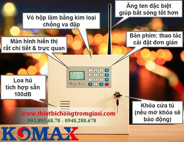 Thiết bị chống trộm hồng ngoại Komax KM-999GSM cao cấp chất liệu vỏ sắc siêu bền từ Hàn Quốc