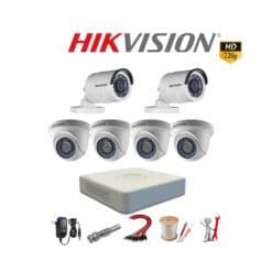 Trọn bộ 6 mắt camera Hikvision 1.0M HD 720P Giá Rẻ