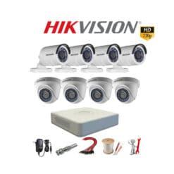 TRỌN BỘ 8 CAMERA HIKVISION 1.0M – HD 720P HỒNG NGOẠI 20M, CHỐNG NƯỚC GIÁ RẺ