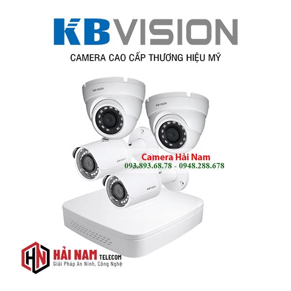 Trọn bộ 4 camera KBVision 5MP chính hãng, 4 in 1, IP67, IR 30m, vỏ kim loại
